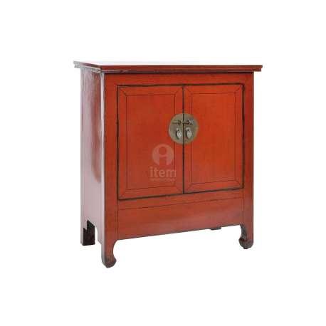 Armoire Basse Rouge Orangée Très Viellie Laquée Chinoise Pour Une