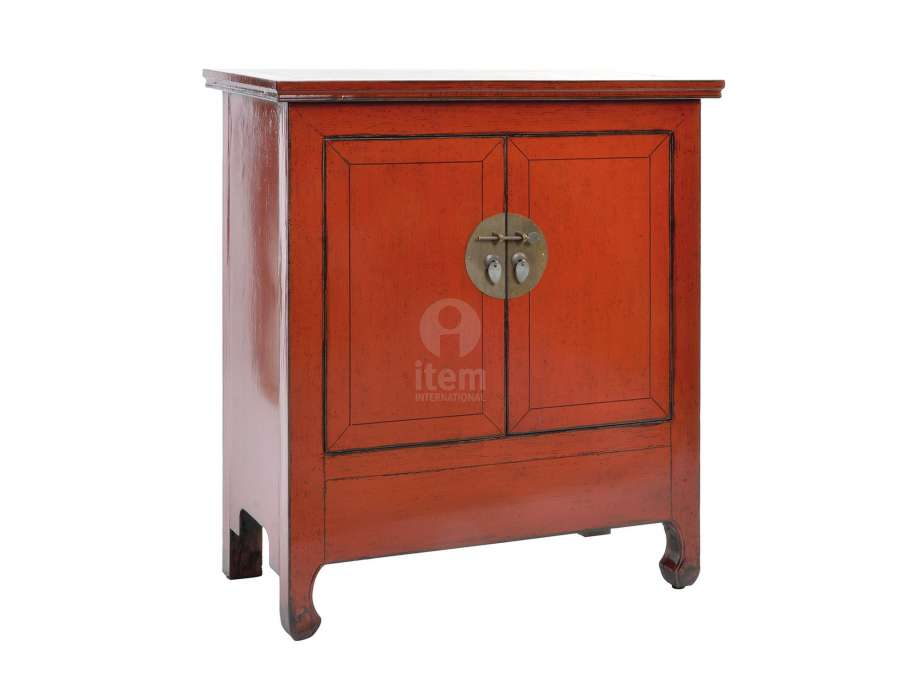 Armoire basse chinoise rouge vieillie