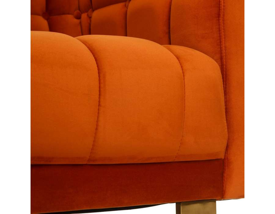 Canapé orange contemporain matelassé