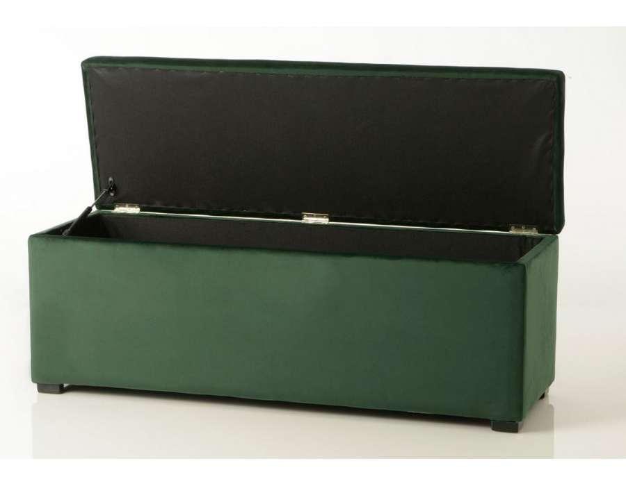 bout de lit capitonn vert en velours ou coffre amadeus. Black Bedroom Furniture Sets. Home Design Ideas