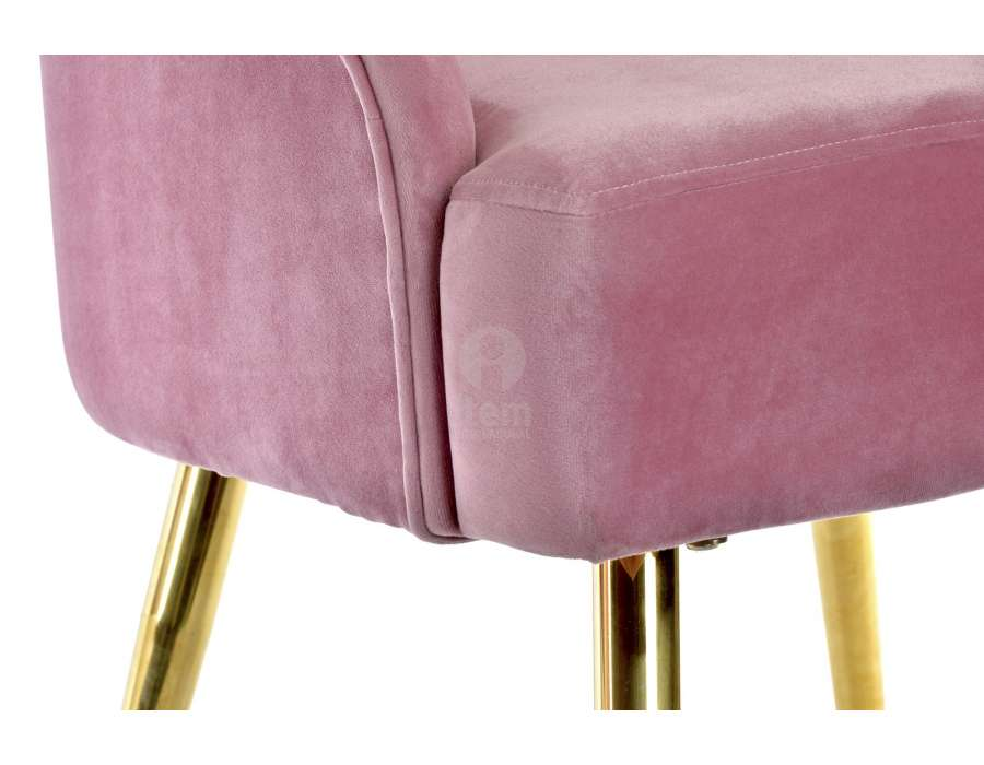 Chaise velours rose coquillage chic