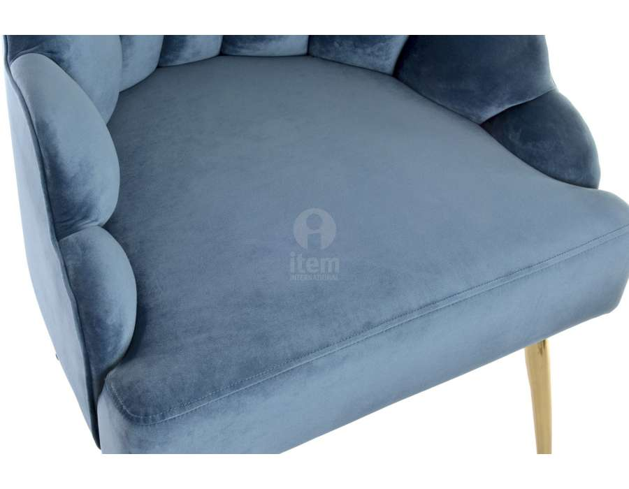 Fauteuil velours bleu coquillage chic