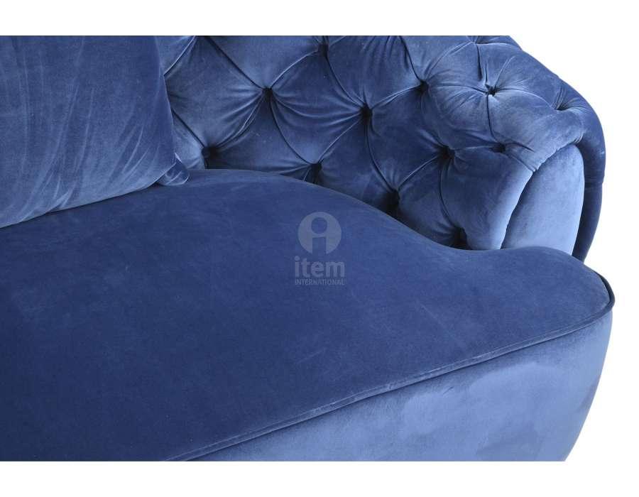 canap capitonn bleu en demi cercle en velours. Black Bedroom Furniture Sets. Home Design Ideas