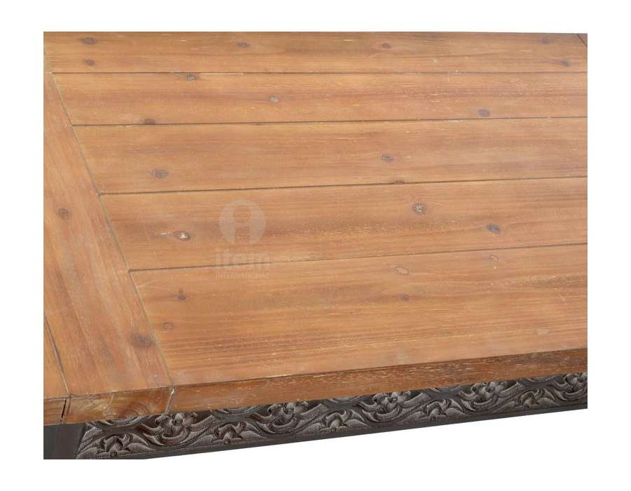 Table de salon bois et métal avec moulures