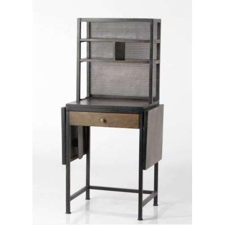 Bureau industriel en bois et métal avec partie haute et un tiroir