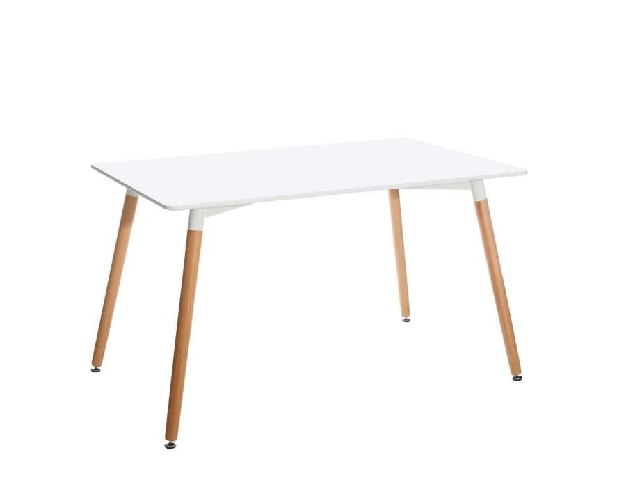 Table 130 cm blanche avec pieds naturel scandinave