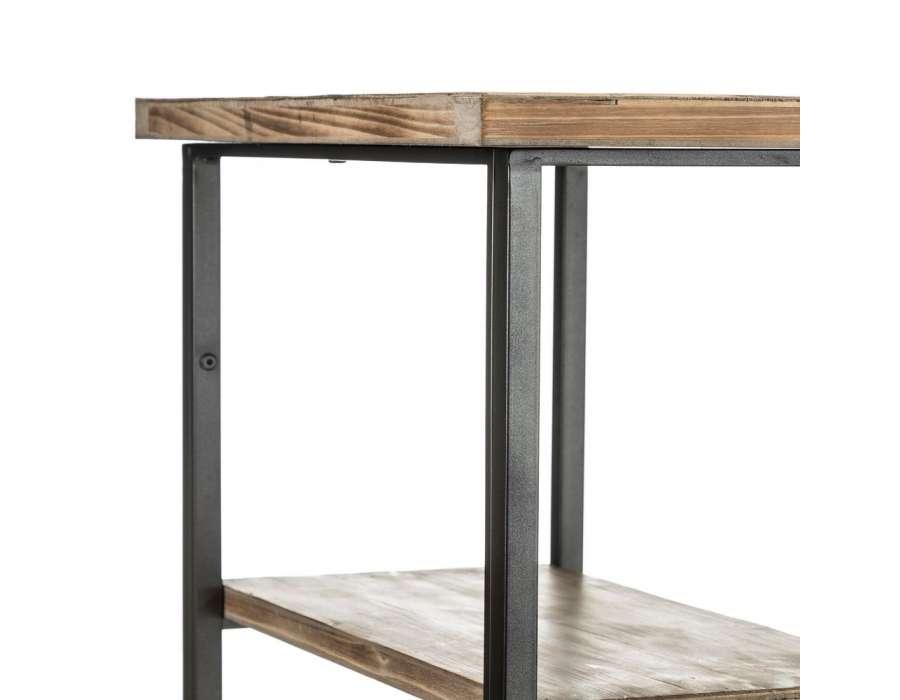 Grand bureau industriel bois et métal avec étagères pas cher