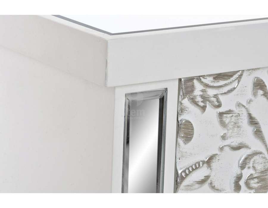 Chiffonnier blanc et argenté avec miroir
