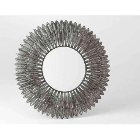 Miroir plumes en métal argentée 85 cm
