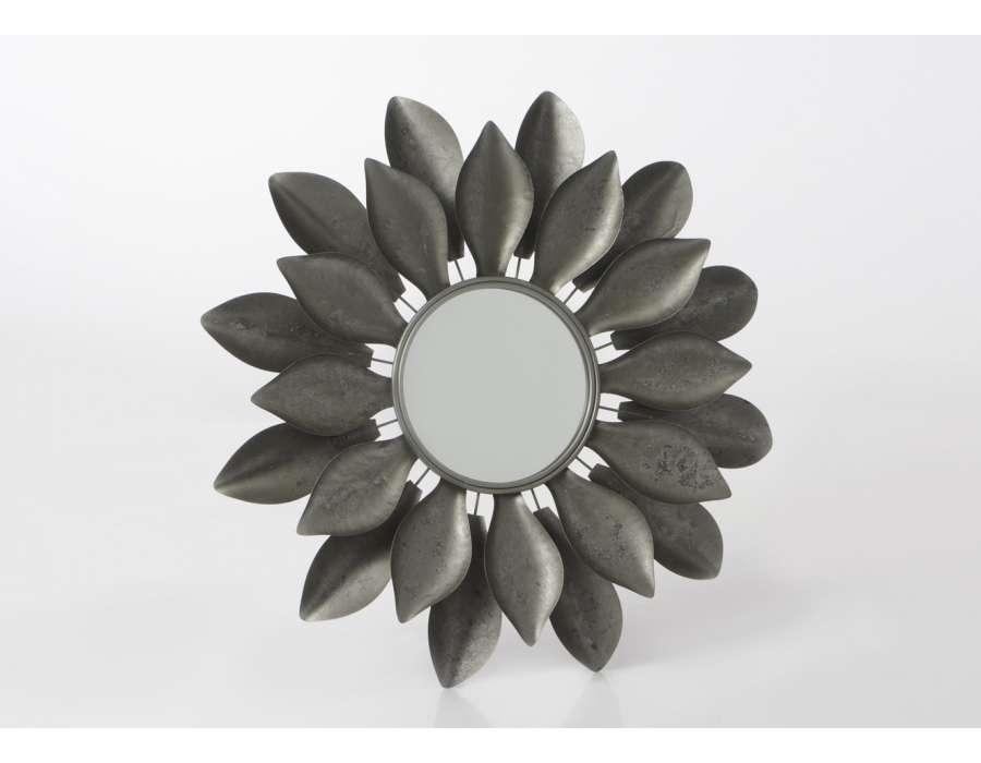 Miroir fleurs en métal argentée 85 cm