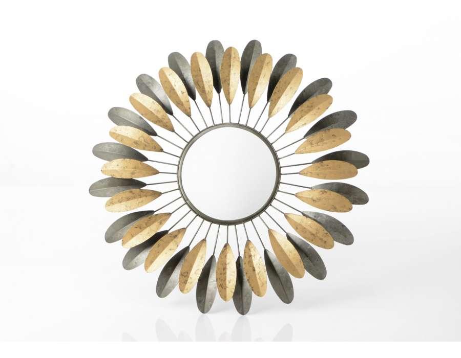 Miroir feuilles en métal gris et doré 69 cm