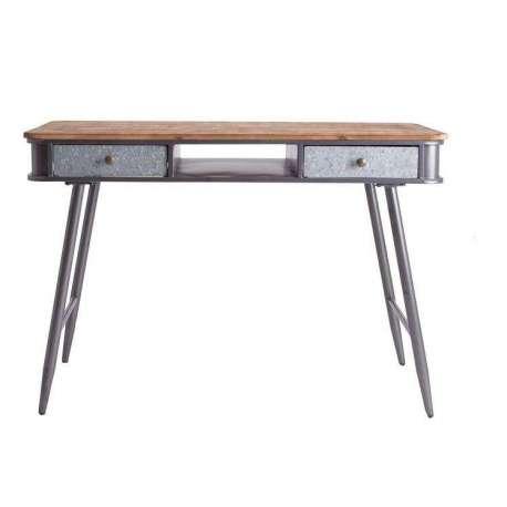 Bureau vintage en bois et métal gris pas cher