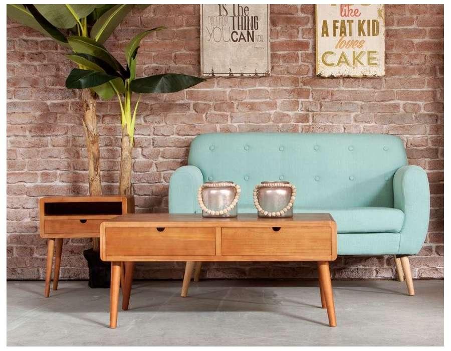 Table basse rétro en bois naturel