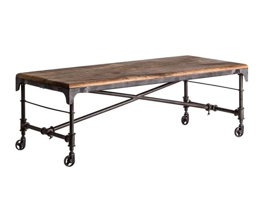 Table basse industrielle petites roues métal
