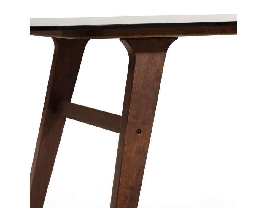 Table 180 cm contemporaine plateau verre fumé