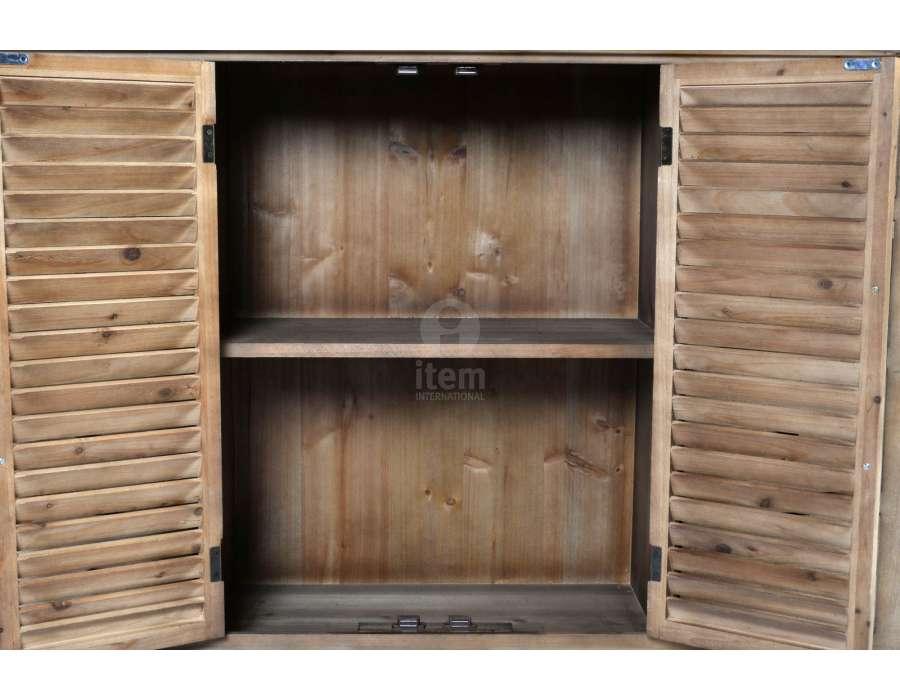 Vaisselier en bois cérusé avec vitrine