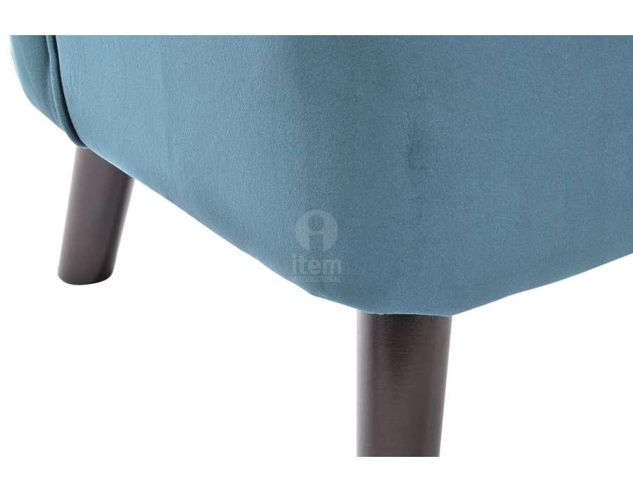 Fauteuil bas bleu en velours