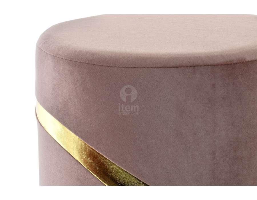Pouf rose 33 cm cercle doré