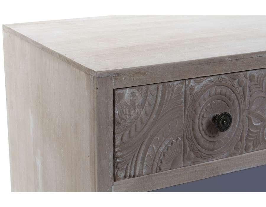 Meuble tv scandinave tiroirs sculptés Eloise