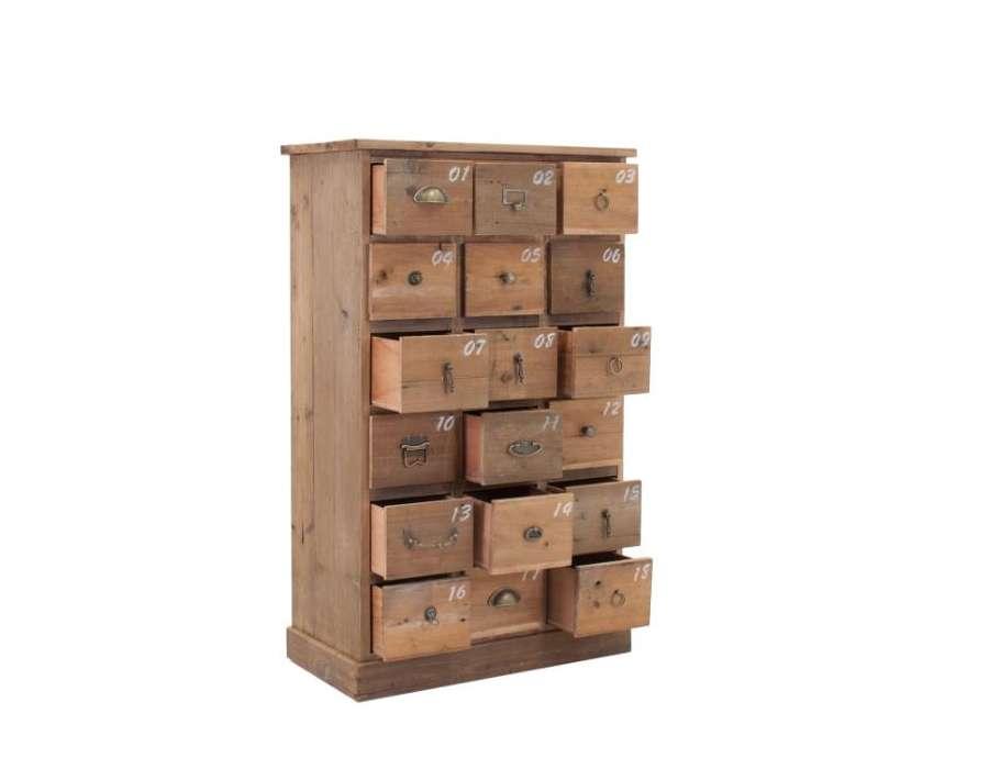 Semainier bois tiroirs numérotés
