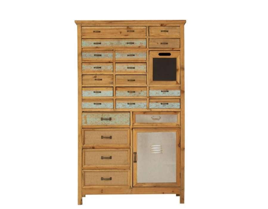 Meuble multi tiroirs en bois avec placard