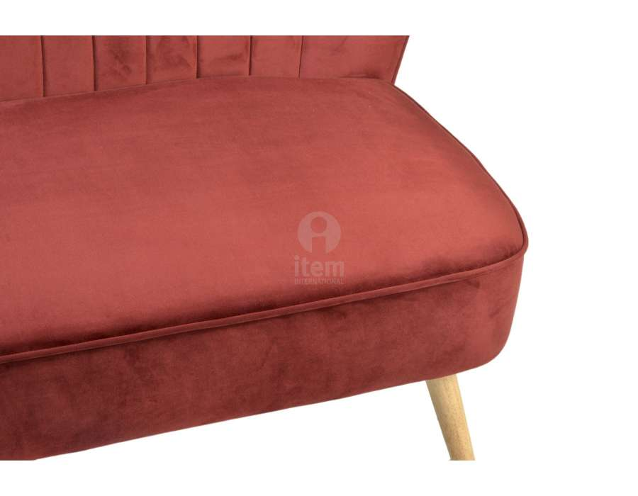 Banquette 2 places rouge velours contemporain