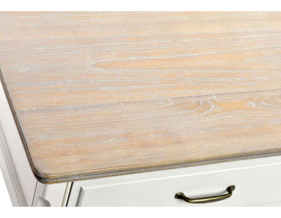 Table basse bois et corps crème Paula