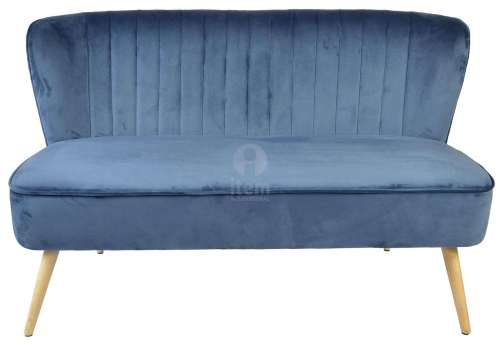 Banquette 2 places bleue velours contemporain