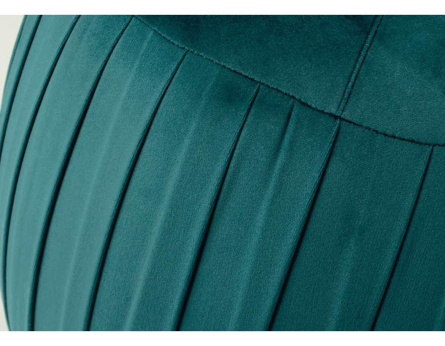 Pouf rond chic vert velours plissé