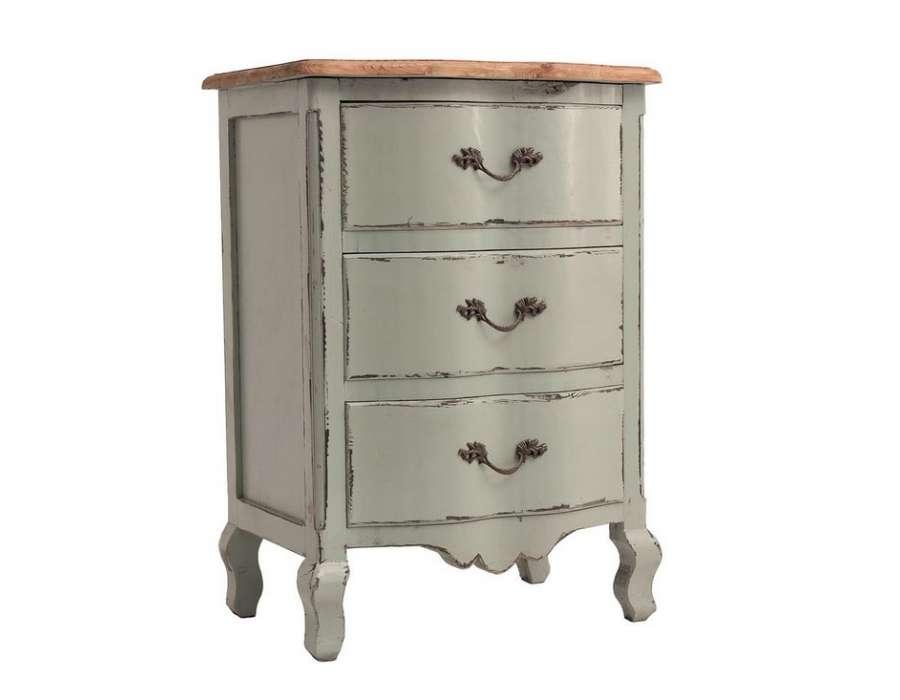 Chevet gris bleuté romantique 3 tiroirs Vical Home