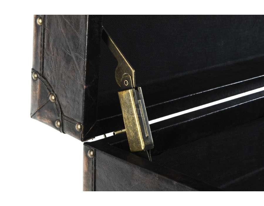 Malle de bar ou table basse coffre simili cuir noir