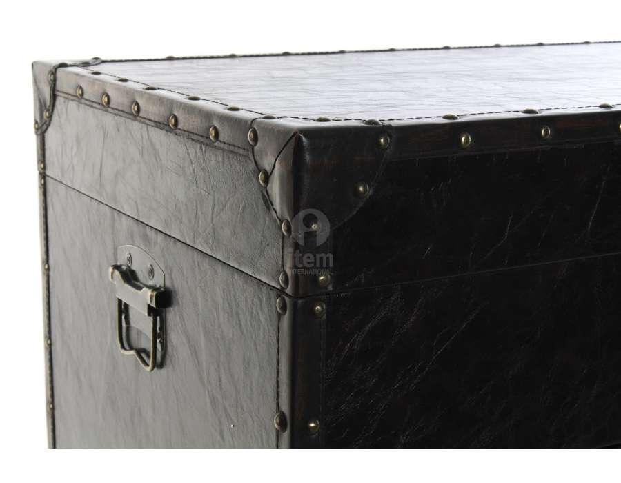 malle de bar vintage en simili en simili cuir noir et bois. Black Bedroom Furniture Sets. Home Design Ideas
