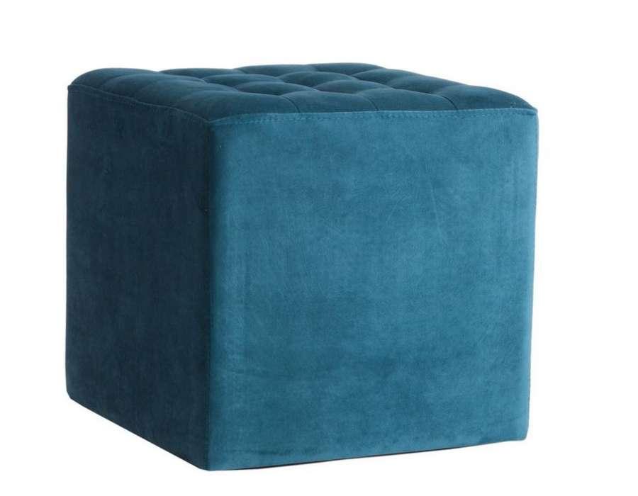 Pouf carré repose pieds bleu