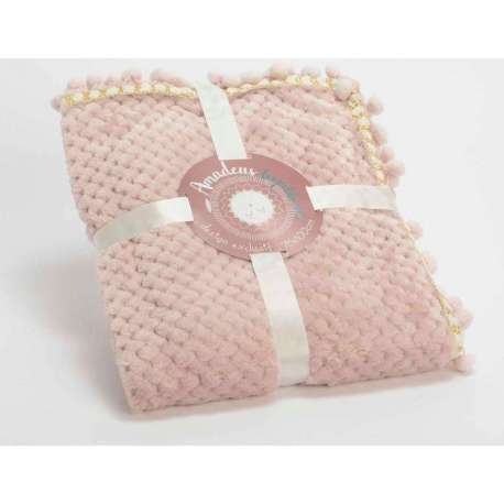 7666f9771677a Petit plaid rose avec pompons pour bébé doux