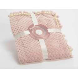 Petit plaid damier pour bébé rose maya