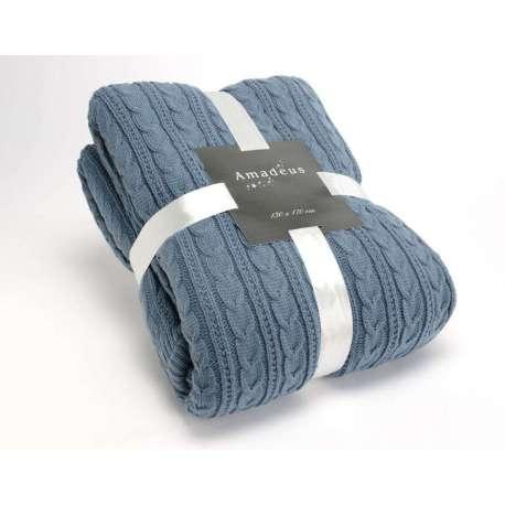 Plaid bleu tricot 170*130 cm