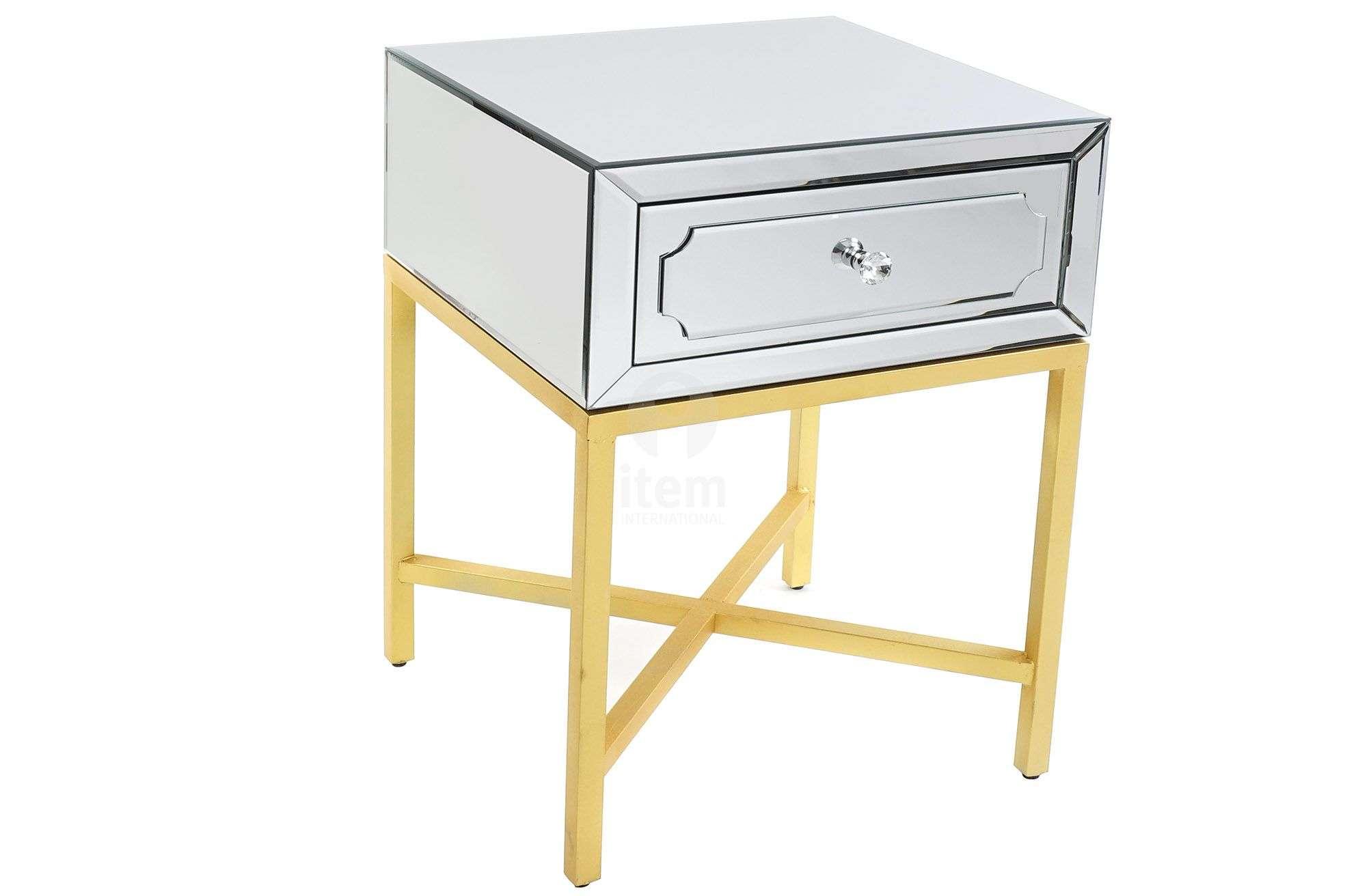 Table De Chevet Miroir Pas Cher chevet miroir socle doré art déco avec 1 tiroir pas cher