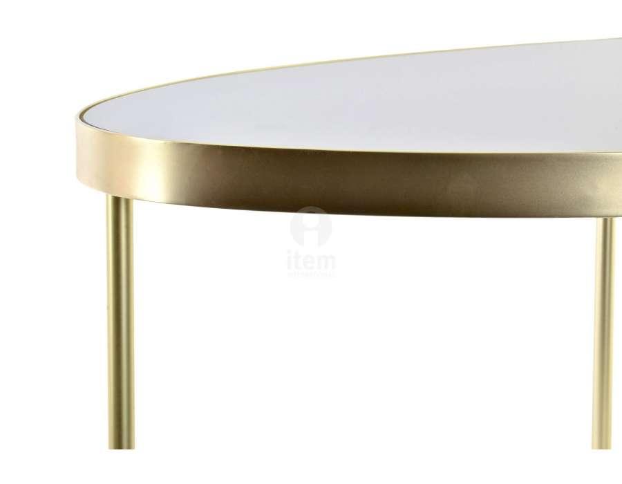 Table de salon ronde dorée plateau noir