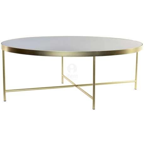 Table Basse Ronde Dorée Et Verre Noir Glamour
