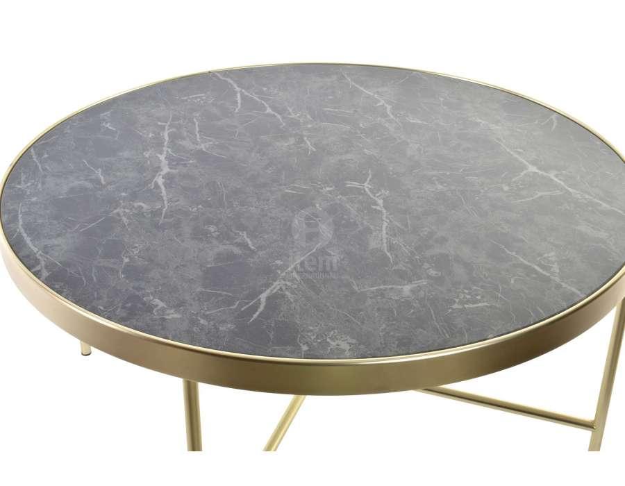 Petite table de salon ronde dorée plateau marbre
