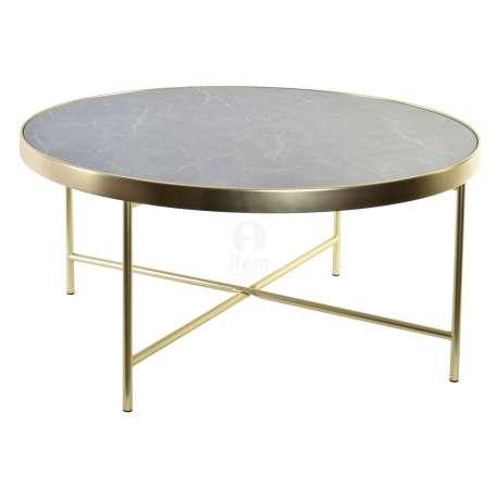 Petite Table Basse Ronde Dorée Et Marbre Noir Glamour