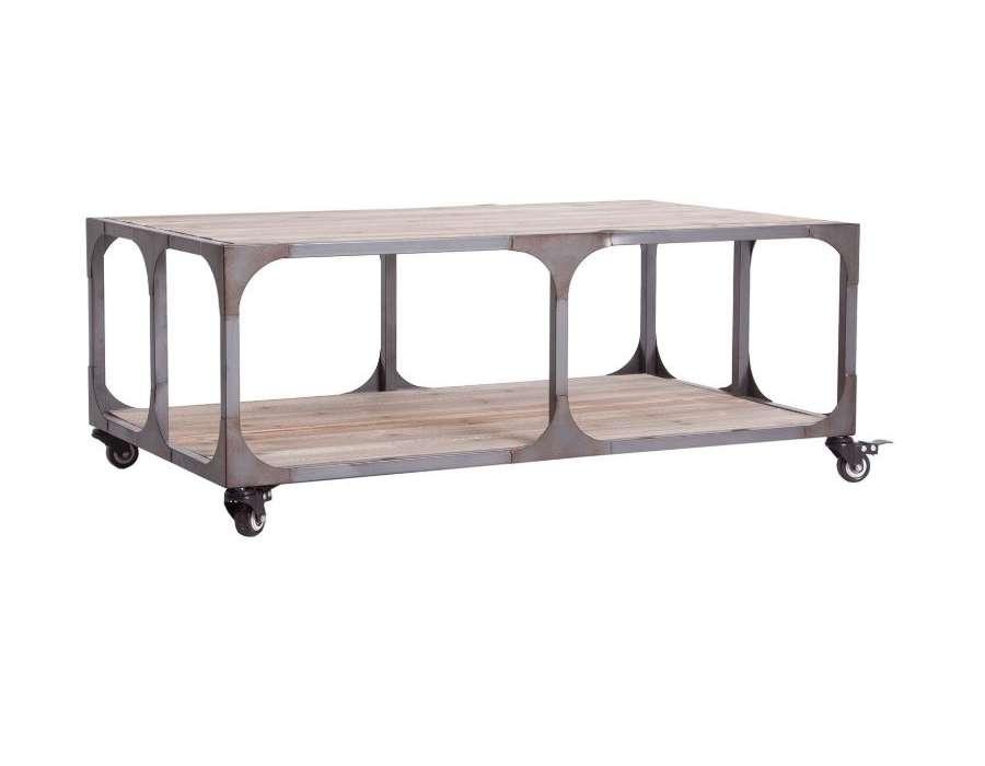 Table basse industrielle chariot grillagé