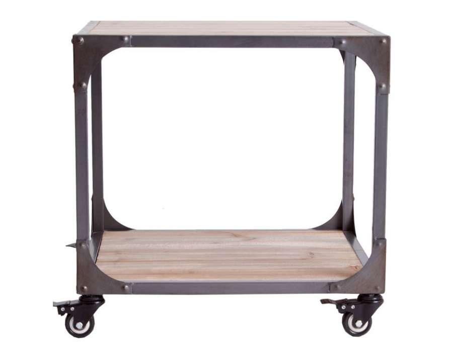 Bout de canapé industriel carré sur roues