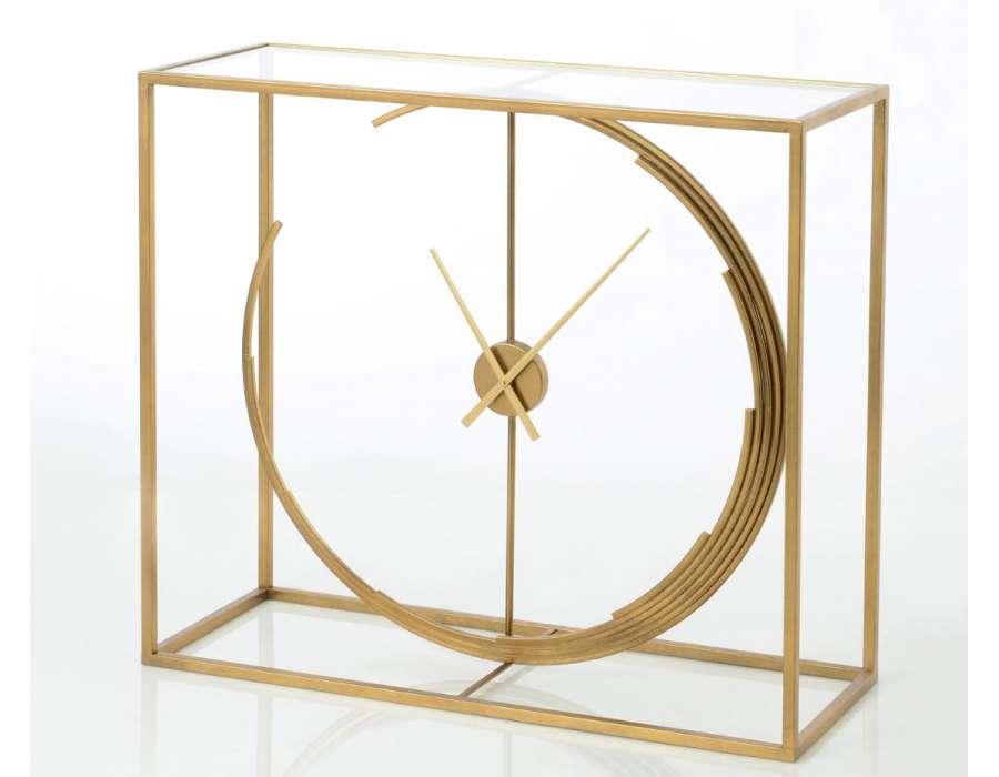 Console dorée verre et métal horloge