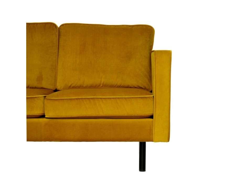 Canapé moutarde en velours contemporain 3 places