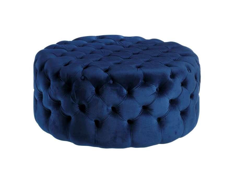 Pouf large bleu capitonné