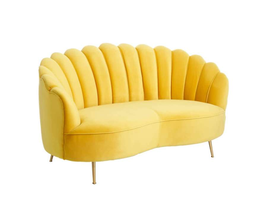 Canapé 2 places jaune velours coquillage