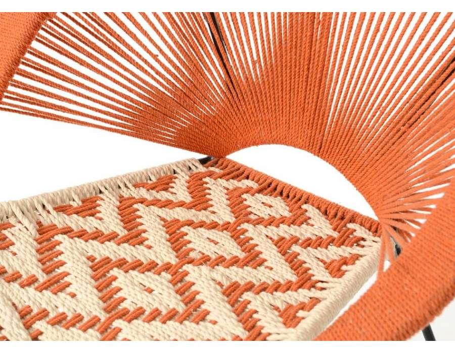 Fauteuil orange tissé bohème