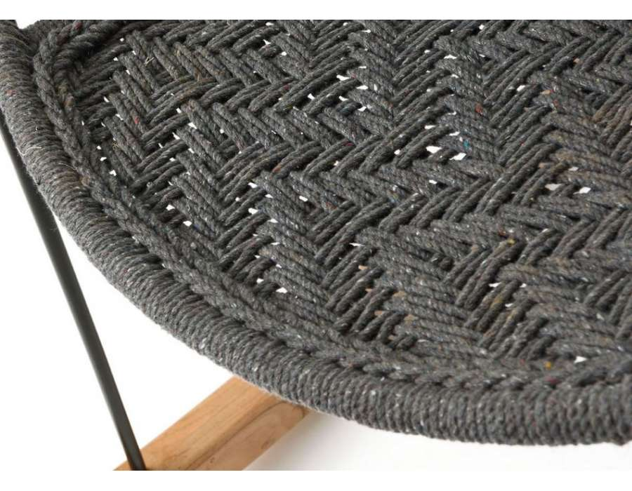 Fauteuil rocking chair gris tissé bohème