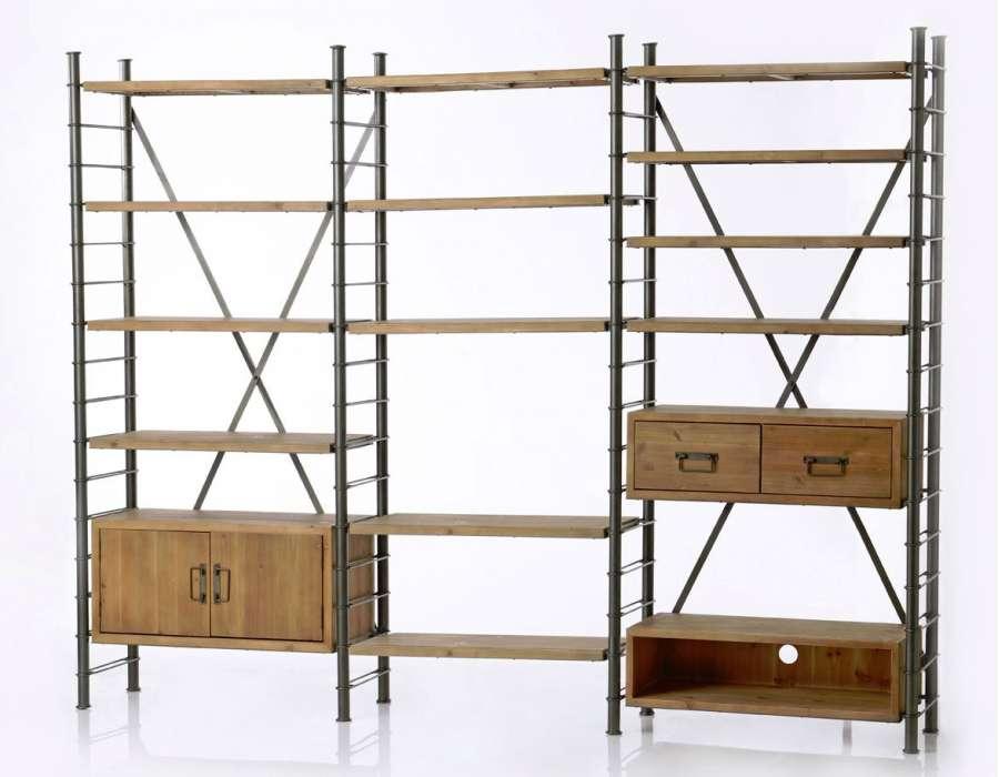 Etagère modulable industrielle avec tiroirs